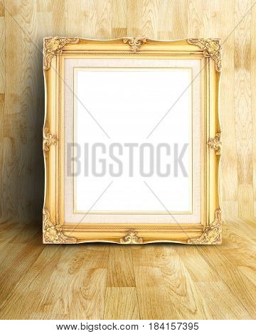 Blank Vintage Gold Victorian Style Picture Frame On Parquet Room,mock Up Template For Adding Your Co