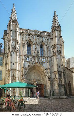 Avignon, France, September 9, 2016: Terrace for the Basilique Saint Pierre in the old town of Avignon France