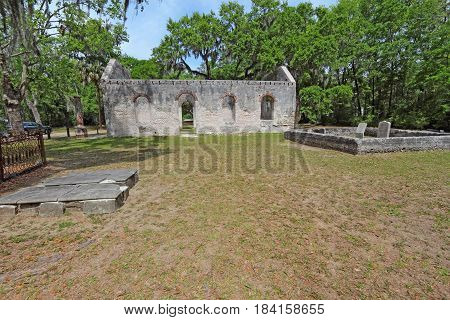 Tabby wall ruins and graveyard of the Chapel of Ease from Saint Helenas Episcopal Church on Saint Helena Island in Beaufort County South Carolna