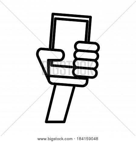 outlined hand holding smartphone technology vector illustration