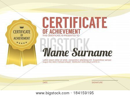 Clean And Simply Blank Certified Border Template Vector Illustration. EPS 10