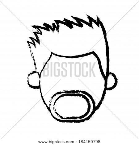faceless head man mustache beard people sketch vector illustration