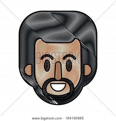 drawing face afro man cartoon vector illustration