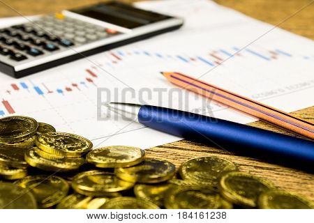 calculatorpencil and money on graffica the Dow Jones on forex market poster