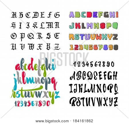 A set of alphabets, gothic, brush playful and strict, geometric grotesque children's colored with a texture