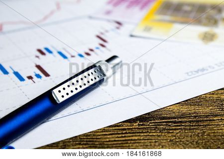 calculatorpencil and money on graffica the Dow Jones on forex market