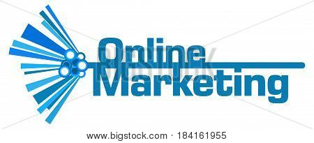 Online Marketing text written over blue abstract background.
