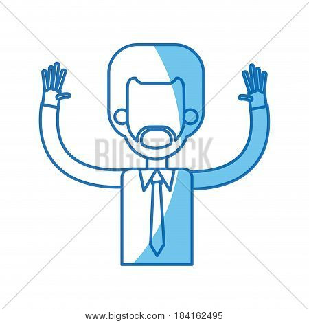 afro man with up arms blue line vector illustration
