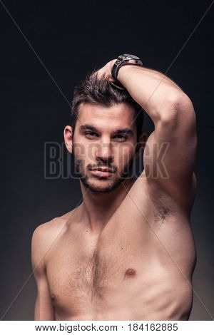 Handsome Man, Shirtless, Hand In Hair