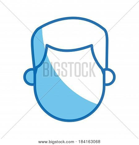 blue outline head no face man character vector illustration