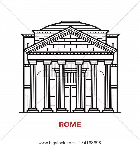 Travel Rome landmark icon. Parthenon is one of the famous architectural tourist attractions in capital of Italy. Thin line ancient column temple vector illustration in outline design.