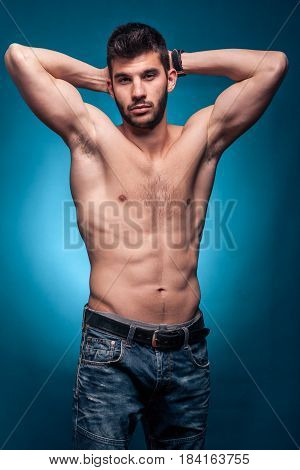 One Young Adult Man, Shirtless Body, Arms Raised