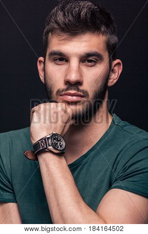 One Young Man, Hand Touching Beard, Head Face Portrait