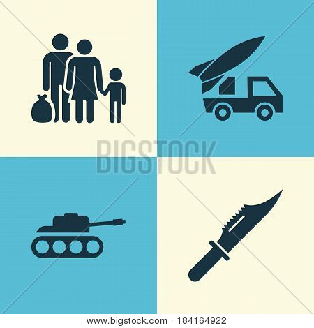 Warfare Icons Set. Collection Of Fugitive, Panzer, Ordnance And Other Elements. Also Includes Symbols Such As Fugitive, Rockets, Ordnance.