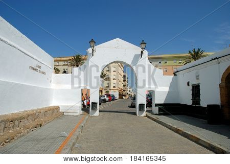 CADIZ, SPAIN - SEPTEMBER 8, 2008 - Entrance arch leading from La Caleta beach along the Paseo Fernando Quinones Cadiz Cadiz Province Andalusia Spain Western Europe, September 8, 2008.
