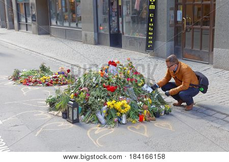 STOCKHOLM SWEDEN - APR 17 2017: Lots of flowers in central Stockholm and man paying respect to the victims in the terror attack April 07 2017. April 17 2017 in Stockholm Sweden