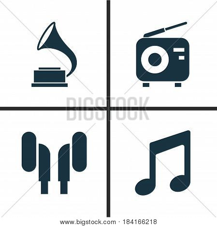 Music Icons Set. Collection Of Phonograph, Music, Earmuff And Other Elements. Also Includes Symbols Such As Antique, Phonograph, Note.