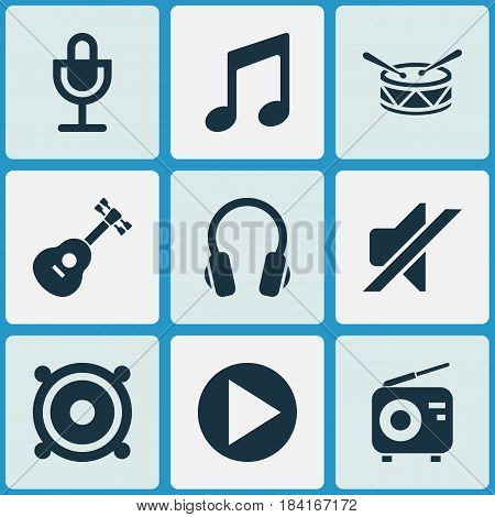 Audio Icons Set. Collection Of Instrument, Megaphone, Earphone And Other Elements. Also Includes Symbols Such As Silent, Mute, Earphone.