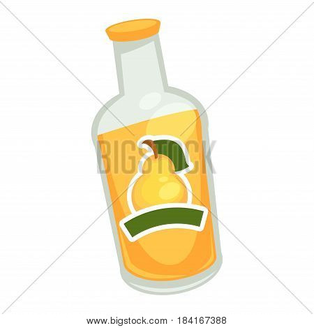 Yellow drink in glass bottle with pear symbol on label on white background. Tasty fruit with green leaf on cover graphic icon. Vector illustration of fruity juice in cartoon style flat design.