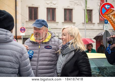 Neuoetting,Germany-April 28,2017: German actor Axel Milberg is interviewed for german TV after arriving at the Neuoetting Stage of the Arabella Classics Rally