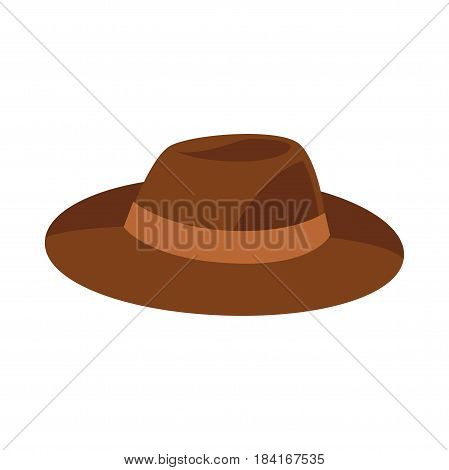 Brown hat vector illustration isolated on white background. Unisex broad cap with tape in flat design cartoon style. Man or woman headwear accessory, new autumn or spring collection, modern item