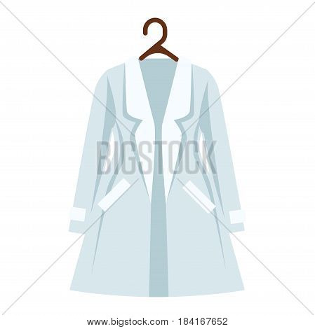 White and light blue color coat of womens wardrobe isolated apparel item. Cotton or cashmere overdress hangs on brown hanger close-up icon. Vector illustration graphic design color image