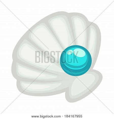 Exquisite shell with blue shine pearl close-up icon isolated on white background. Precious stone which used for production of jewelry. Vector illustration of clam conch and gem cartoon style.