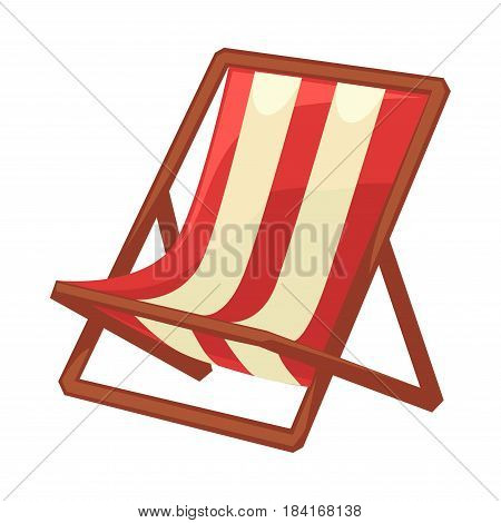 Folding chaise lounge with striped red and white cloth and wood dark carcass on abstract background. Summer equipment for rest and sunbathing vector illustration close up flat icon cartoon style.