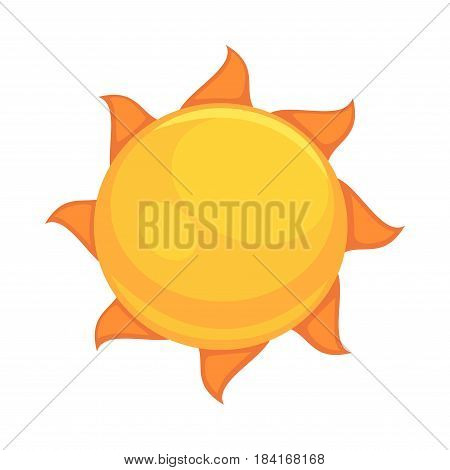 Summer yellow sun with rounded orange rays close up flat icon isolated on white background. Star of Solar System which provides heat, light and suntan vector illustration in cartoon style flat design