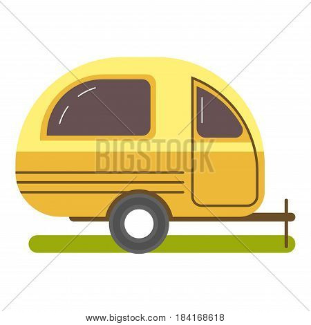 Travel trailer caravanning in yellow color on grass isolated on white vector illustration. Colorful picture of special mean of transportation for travelling by vehicles, cabin for rest sticker icon