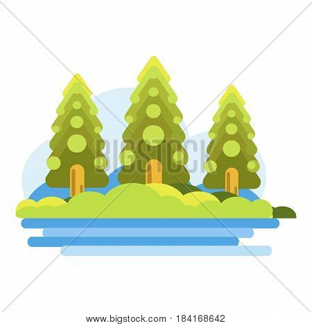 Green forest with green spruces near blue river. Vector colorful illustration in flat graphic design of warm summer weather in woods. Seasonal recreational and relaxation template picture.