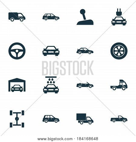 Auto Icons Set. Collection Of Truck, Car, Carriage And Other Elements. Also Includes Symbols Such As Control, Van, Sports.