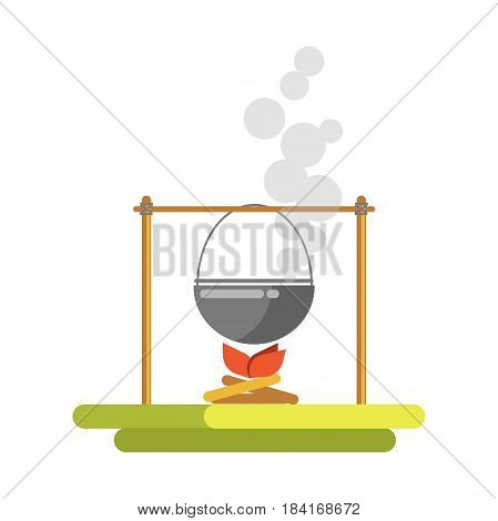 Cooking on open fire template vector illustration. Colorful picture in flat design of pot with steam hanging on wooden long stick above bonfire. Camping rest concept of preparing meal outdoors