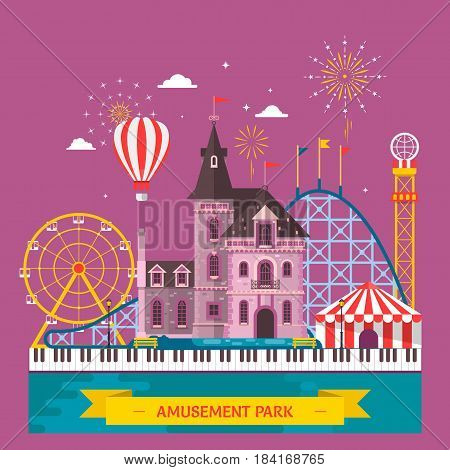 Amusement park with attraction and rollercoaster tent with circus carousel or round attraction merry go round ferris wheel Flat vector illustration