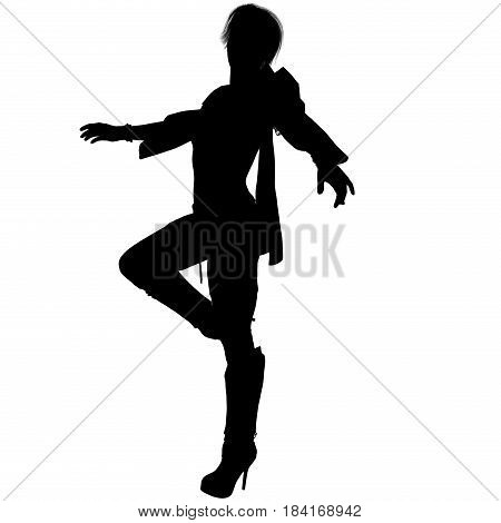 a shadow of one young female sorceress in the fantasy super suit. She stands to left side to camera. Lifted her right foot and spread her arms out to the sides. Shadow. 3D rendering, 3D illustration