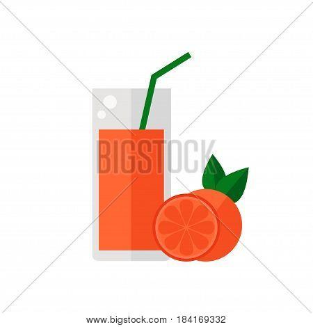Grapefruit juice isolated icon on white background. Glass of juice with tubule. Flat style vector illustration.