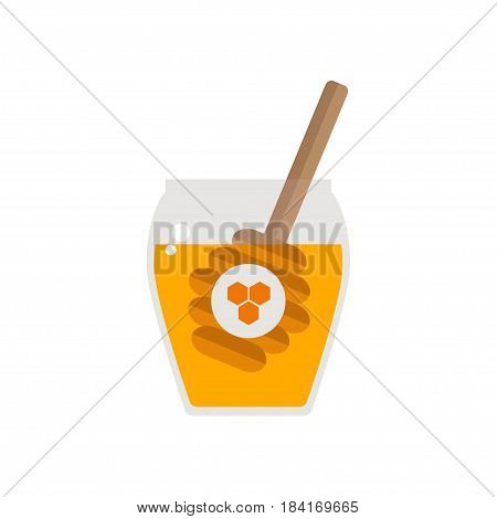 Honey jar with spoon isolated icon on white background. Drizzler. Beekeeping product. Flat style vector illustration.