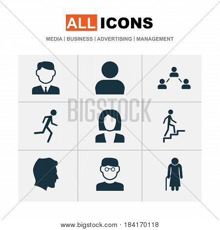 Person Icons Set. Collection Of User, Male, Old Woman And Other Elements. Also Includes Symbols Such As Climbing, Work, Scientist.