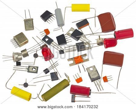 Powerful semi-conductor diodes and other radio components on a white background poster