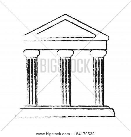 blurred silhouette parthenon architecture icon vector illustration