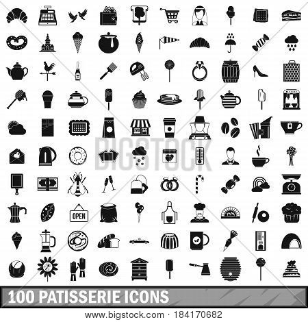 100 patisserie icons set in simple style for any design vector illustration