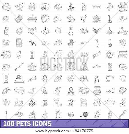 100 pets icons set in outline style for any design vector illustration