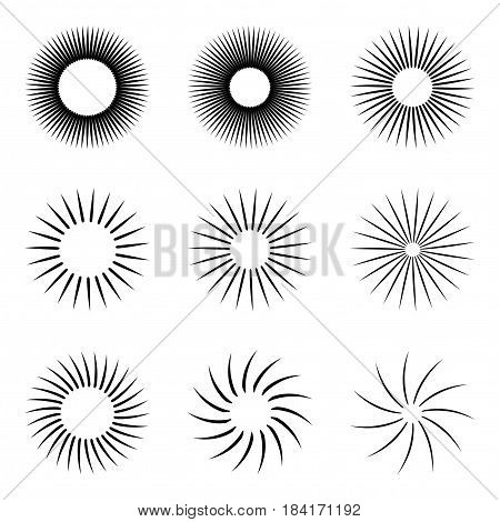 Contour stylized sun symbols set, isolated vector