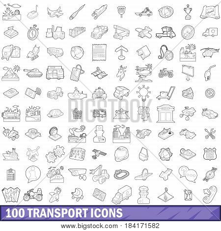 100 transport icons set in outline style for any design vector illustration