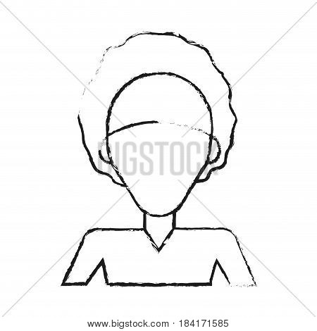 blurred silhouette caricature faceless half body woman with afro hair vector illustration poster