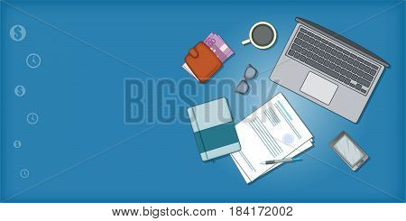 Business plan banner horizontal concept. Cartoon illustration of Business plan banner horizontal vector concept for web