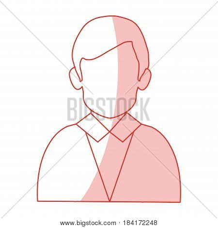 red silhouette shading half body faceless man with executive suit vector illustration
