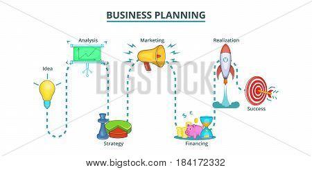 Business plan way banner horizontal concept. Cartoon illustration of Business plan way banner horizontal vector concept for web