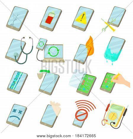 Repair phones fix icons set. Cartoon illustration of 16 repair phones fix vector icons for web