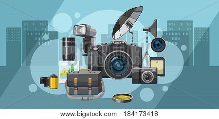 Photo studio banner horizontal concept city. Cartoon illustration of photo equipment banner horizontal city vector for web
